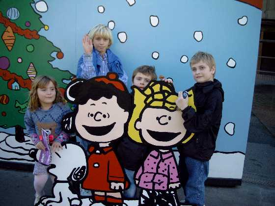 Kids with Snoopy for Christmas